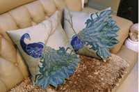 Wholesale new super luxury perfection solid peacock applique embroidery sequin cushion pillow cover case sofa bed room ornament