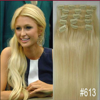 Chinese Hair clip in human hair extensions 160g - 16 quot quot quot quot remy Human Hair CLIP IN HAIR EXTENSIONS lightest Blonde g g g g