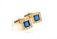 Wholesale Romace Blue Crystal and Gold Cufflinks