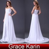 Wholesale Grace Karin Hot Selling Elegant Strapless Sexy Lace Up Design Fashion Beach Wedding Dress Gown CL2526