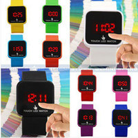 Casual Unisex Auto Date Promotion! New Colorful Touch Screen LED Date Silicone Men Lady Outdoor Sport Watch lot 100pcs Free shipping