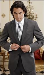 Custom-tailor Charcoal Groom Tuxedos Notch Lapel Groomsmen Men Suits(Jacket+Pants+Tie+Waistcoat)G750