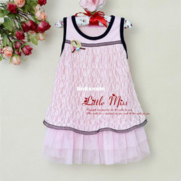 Wholesale 2013 new fashion baby girl dress pink printed kids lace dress for baby girl sunmmer wear party dress