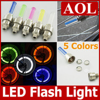 Wholesale 5 Colors Bicycle Car Valve Caps Light Tyre Wheel Neon bike LED Flashing Light with retail box