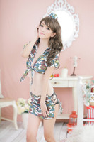 Chemise camouflage lingerie - Fashion sexy lingerie mini camouflage coat