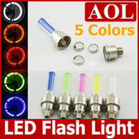 Wholesale 200pcs Emitting color same shell Car Bike LED Flash Tyre Light Wheel Valve Stem Cap Lamp Motorbicycle Wheel Light