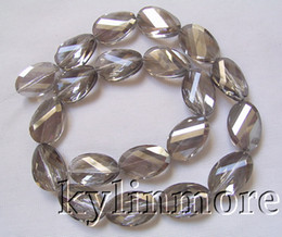 8SE08457a 14x20mm Glass Crystal Faceted Twisted Oval Beads 16""