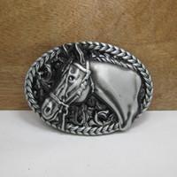Alloy western belt buckles - Horse belt buckle western belt buckle with pewter finish FP with continous stock