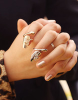 Band Rings flower nail - Dragonfly flower nail silver and gold diamond ring finger nail rings colors new arrived