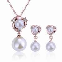 Wholesale New K Rose Gold Plated Pearl Rhinestone Crystal Necklaces Earrings Fashion Jewelry Sets Gift TZ182