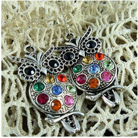 Wholesale MIC Pairs Charm Fashion Jewelry Silver Colorful Owl Crystal Stud Earrings With Gift Box