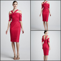 Reference Images beaded pencil skirt - New Fashion Pencil Skirt Half Sleeves Ruched Tulle Cocktail Dresses Short Red Dresses