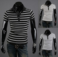 Men Short Sleeve 100% Cotton 2014 fashion casual men 's clothing black-and-white-striped Slim Polo Shirts 3 colors