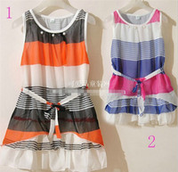 2T-3T Summer Sleeveless 2013 summer baby girs children's clothing with dress cake skirt vest dress cool summer chiffon multi