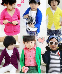 Wholesale Spring Style Girls Cardigan Boys Cardigan Eleven Colors Mix Color Children s Sweaters Easy Match Dress cotton comfortable wear