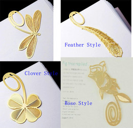 Wholesale Creative K Gold Dragonfly Clover Feather Rose Style Bookmark Book Marks