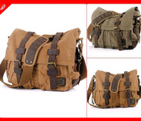 Wholesale mens travel hot selling military canvas leather messenger shoulder laptop outdoor bag for man