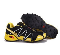 Wholesale 2013 hot sell Salomon man yellow and black sports shoes cross country hiking shoes