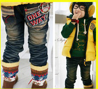 Wholesale Boys Jeans Boys Cotton Washed Denim Chirldren Stripe Letters Sewing Denim Pants