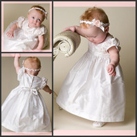 Wholesale Baby Girl Dress White Satin Short Sleeve First Communion Dress Long Christening Gown With A Baby Hat