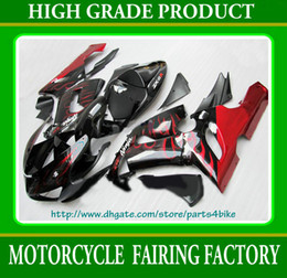 WINE red flames in black body Fairings for Kawasaki Ninja ZX6R 2005 2006 ZX 6R 05 06 zx-6r RX5A
