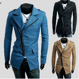 Wholesale Spring three Inclined Zipper pocket design new men s cultivate one s morality leisure trench coat