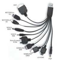 Wholesale 10 in Universal USB Charger Cable drag cable Multi Function Cell Phone USB Charging Line
