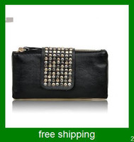 Wholesale PU Leather fashion designer Rivet Lady wallet Clutch Purse Evening Bag