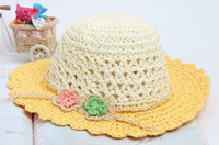 Wholesale Crochet Straw Caps Girl Flower Hat Summer Cap Kids Beach Cap Handmade Caps Mixed order pc