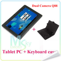 Wholesale 7 quot Allwinner A23 A33 Q88 pro Quad core Tablet PC Keyboards Cases Quad Core Dual Camera Android GHz MB GB Wifi Bluetooth