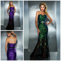 Reference Images Sweetheart Tulle 2016 Bling Bling Sequined Tulle Beads Sash Peacock Purple Floor Length Sheath New Sexy Prom Dresses