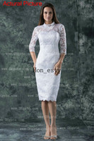 Wholesale White Short Wedding Dresses Lace High Neck Covered Buttons Sleeves Knee Length Bridal Gowns