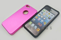 Cheap 200pcs lot Hard Aluminum Metal Silicon Side Case Cover for iPhone 5 5G free shipping