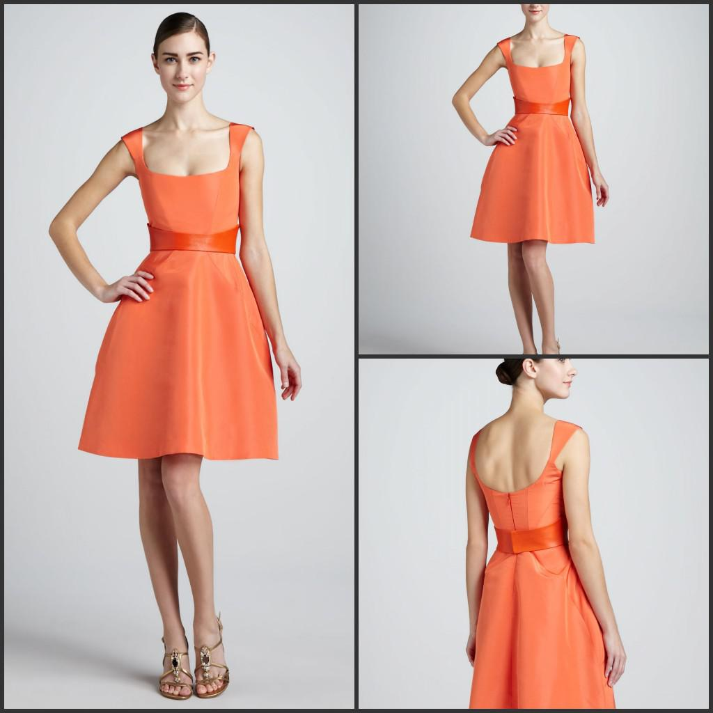 Smooth A-line Scoop Sleeveless Fit-and-Flare Short Orange Cocktail ...