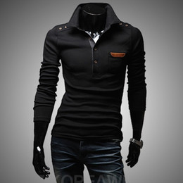 Wholesale Hot Style Men s Long Sleeve Slim Tee shirt Casual design T shirts Tops amp Tees