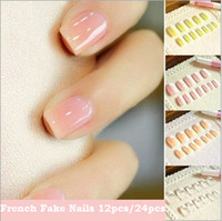 Full French Nail Tips Square  Nail Tips 12pcs 6colors Fake nails French manicure Nude color fake nail with glue