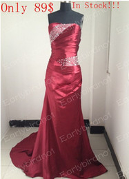 Wholesale In Stock Bridesmaid Dresses Actual Image Strapless Ruffles Bead Mermaid Prom Evening Gown