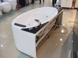 Wholesale 1700X820X580mm Ocean Shipping CE Approved Acrylic With FiberGlass whirlpool bathtub Water Massage Three Side Skirt Water Jets RS6114