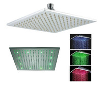 Wholesale 12 quot square LED RGB lingt brass rainfall for bathroom bath mixer faucet tap chromed brass big shower head