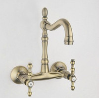Wholesale Wall Mounted Antique Brass Finish Kitchen Sink Bathroom basin Faucet mixer tap AB