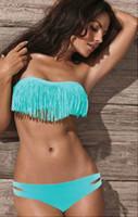 Wholesale SEXY Women lady Padded boho fringe strapless dolly bikini Swimwear bathing Suit
