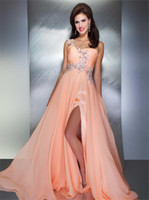Wholesale 2013 One shoulder Crystals Split Chiffon Sexly Back Beadings Prom dresses