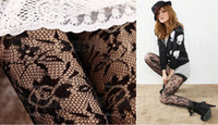 Wholesale New Arrivals Womens Ladies Black Sexy Fishnet Lace Pattern Jacquard Stockings Pantyhose Tights F12
