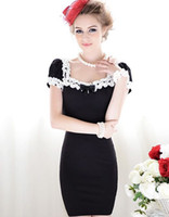 Wholesale Pure Color Slim Fit Square Lace Neck Short Sleeve Lotus Dress In Black Women s one piece dress