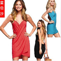 Wholesale Saress Bikini Wrap Dress Cotton Dress Women s Sarong Bikini cover ups Cross Beach dres