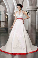 Wholesale Charming Halter Satin A line Wedding Dresses Appliques Chapel Train White and Red Bridal Gown