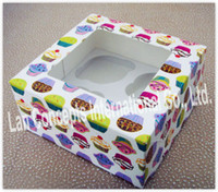 Wholesale Paper Cupcake Box Muffin Box Baking packaging with window insert cups C0032