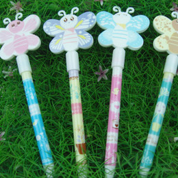 Wholesale Beautiful butterfly cap with a mirror press type ball point pen stationery prizes birthday gift