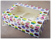 Wholesale Paper Cupcake Box Muffin Box Baking packaging with window insert cups C0033