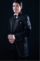 Wool Blend man made diamond - Custom Made Black Groom Tuxedos Groomsmen Diamond Lapel Men Suits Jacket Pants Tie Waistcoat G781